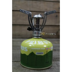 Gaskocher Spider mit Piezozündung und PRIMUS Gaskartusche 230 Ventilkartusche
