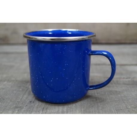 Emailletasse Edelstahlrand  Western Becher 330ml 0,33 blau