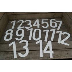Aufnäher Zahlen 1-14 SET Stoff weiß Fußball Nummernsatz Trikotnummer Vintage