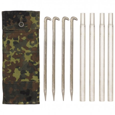 BW Bundeswehr Zeltbesteck mit 4 Heringen und 4 Stangen