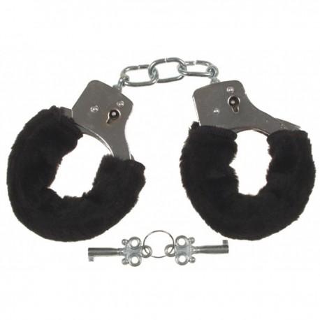 Handschellen, 2 Schlüssel, chrom, Fellüberzug in schwarz
