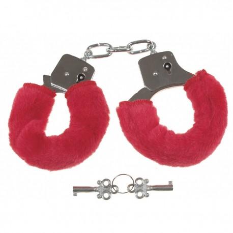 Handschellen, 2 Schlüssel, chrom, Fellüberzug in rot