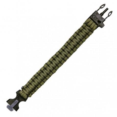 Armband Parachute Cord mit Feuerstahl und Pfeife oliv