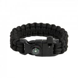 EDCX Armband Parachute Cord mit Feuerstahl und Pfeife Flaming Lizzard schwarz