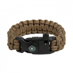 EDCX Armband Parachute Cord mit Feuerstahl und Pfeife Flaming Lizzard coyote tan