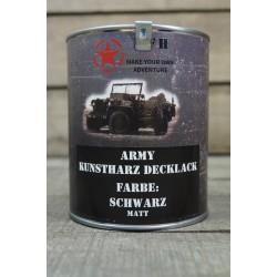 Militärfarbe SCHWARZ MATT  RAL9021 Militärlack Farbe 1000 ml 1 Liter Dose