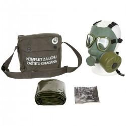 Jugoslawische Schutzmaske ABC Gasmaske M 1 M1 grün unbenutzt Maske Filter Poncho