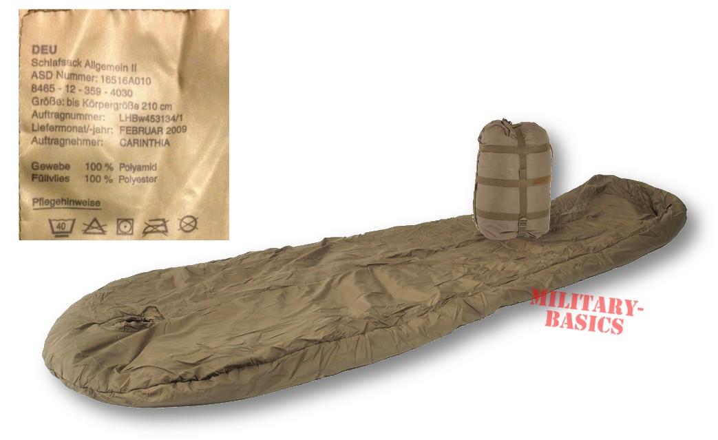 anerkannte Marken riesige Auswahl an akribische Färbeprozesse BW Bundeswehr Schlafsack Allgemein II CARINTHIA mit Packsack Original bis  210 cm - Military Basics